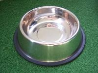 Edelstahlnapf mit Gummiring 0,9 l / Ø 17cm