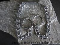 Halskette runde Glieder 2 Ringe (Stahl verchromt) L=45cm GRAVIERT