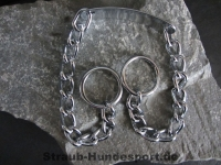 Halskette runde Glieder 2 Ringe (Stahl verchromt) L=60cm GRAVIERT