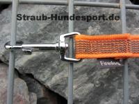 gummierte Nylonleine 20mm breit 1m ohne Handschlaufe Farbe: neon orange
