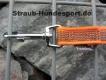 gummierte Nylonleine 20mm breit 1,2m mit Handschlaufe Farbe: neon orange